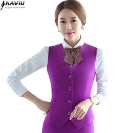 Wholesale Skirt Suit Ladies Formal - New fashion women vest skirt suit slim formal Business V-neck Vest and skirt set work wear office ladies plus size uniforms