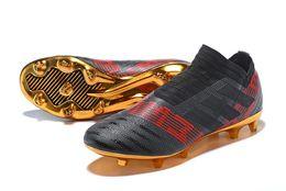 Wholesale Magnetic Trains - Nemeziz Messi 17+ 360 Agility FG Soccer Cleats Triple Black Magnetic Pyro Storm Mens Turf Soccer Training Cleats Boots Football Shoes