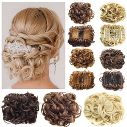Wholesale Synthetic Hairpiece Blonde - IN STOCK! FREE SHIPPING!Short Curly Synthetic Blonde Burg Big Bun Chignon Hair Extension With Two Plastic Combs Clip in Hairpiece