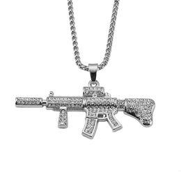 Wholesale Rhinestone Gun Necklace - Men Cool M4 Gun Stainless Steel Pendant Necklaces Hip Hop Punk Rock Style Full Rhinestone Design Fashion Men for 75cm Long Chain