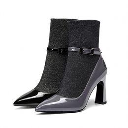 Canada Femme Bottes En Cuir Véritable Chaussures De Peau Naturelle Bottes Mi-Mollet Chaussures Femme Talons Hauts Chaussures Taille 34-39 DR-B0023 cheap calf skin leather Offre