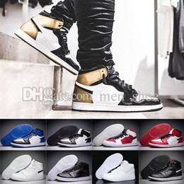Wholesale Black Toe Shoes - 2018 NEW1 basketball shoes bred banned Top 3 royal reverse shattered backboard Black Toe Chicago UNC Metallic Red men women sneakers US 8-13