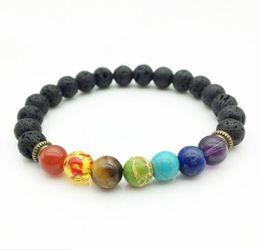 Wholesale Seven Days - JLN Seven Chakra Lava Bracelet Yoga Energy Healing Stone Reiki Prayer Beads Stretch Bracelet For Man And Woman