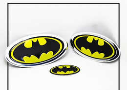accessories chrome Coupons - 2 pcs Chrome Metal Hero Batman Logo Emblem Decal Sticker Car Styling Fender Gas Tank Hood Decoration Badge Fit For Bmw Ford Car Accessories