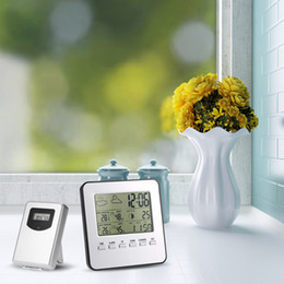 Wholesale Digital Wireless Weather Station - Multi-functional Digital Wireless Thermometer Hygrometer LCD Weather Station Clock Calendar Alarm Moon Phase Indoor Outdoor