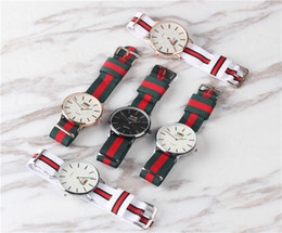 Wholesale Round Clothes Pins - 2018 arrival Luxury Mens Leather Strap Casual Watches Womens Clothing Sports Watches Colorful Nylon 40MM Rose Gold Watches DW montre homme