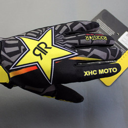 Wholesale Mountain Gloves - Rockstar Motocross gloves Cycling Riding Bike Sports Mountain Bicycle Racing Motorcycle Full Finger Gloves M L XL