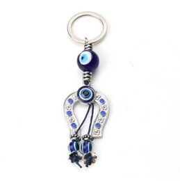 Wholesale Evil Eye Key Ring - EVIL EYE 10 species Fashion blue Evil Eye KeyChain Owl Elephant Hamsa hand  Anchor Charms Keychain For Men Women Key Ring