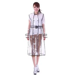 Impermeables al aire libre online-EVA Impermeable Transparente Con Cinturón Impermeable Largo para Mujeres Chaqueta Impermeable Cazadora Cazadora Lluvia Poncho Al Aire Libre capa de lluvia