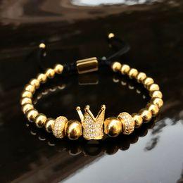 Argentina Pulseras con dijes de 6 mm de metal de oro y titanio, cuentas de acero brazaletes de pulsera Pulsera tejida con corona Joyería de acero inoxidable 2018 Suministro
