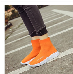 Wholesale rubber band weave - 2018 new style MWSC Autumn Winter WOMens Fashion Slip On Shoes High Top Male Casual Fly Weave High Top Sock Warm Shoes