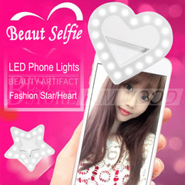 Wholesale Led Lighting Video - USB Charge LED Portable Flash Led Camera Clip-on Mobile phone Ring light video lights Enhancing For Cell Phone Star Heart Shape