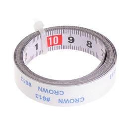 Visto meccanico online-Nastro adesivo metrico in scala misura 1 metro in pasta acciaio meccanico righello retromarcia per router sega a nastro tavolo visto strumenti di lavorazione del legno OCT19