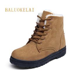 Botas de nieve marrón Moda cálida Flock Botas de invierno Nueva llegada de las mujeres del tobillo zapatos de las mujeres de piel sintética caliente de felpa plantilla K-154 desde fabricantes