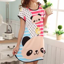 BONJEAN Talla única ropa de dormir para mujer manga corta camisa suelta noche de noche lindo vestido de verano camisón de dibujos animados desde fabricantes