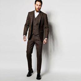 Официальный коричневый смокинг онлайн-2018 brown men suit for wedding business formal tweed custom blazer classic jacket slim fit elegant tuxedos smart casual 3 piece