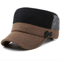 7094dc1a8f7 HT1395 New Fashion Men Baseball Caps with Ear Flap Two Tones Patchwork Flat  Top Wool Felt Hats Male Warm Winter Hats Dad