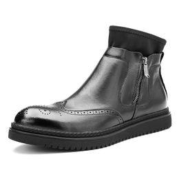 2019 chaussure de chaussure Nouvelles Bottines Pour Hommes Aile Astuces Brogue Chaussures Zip Riding Boots Homme D'affaires Soft Oxfords Martin Boots Chaussures D'hiver promotion chaussure de chaussure