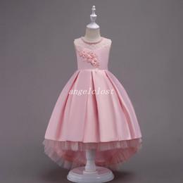 63ca16ea4556 2019 billig wulstkleid fest Prinzessin Ballkleid Blumenmädchenkleider für  Hochzeiten Juwel Applikationen Spitze Perlen Mädchen Festzug Kleid