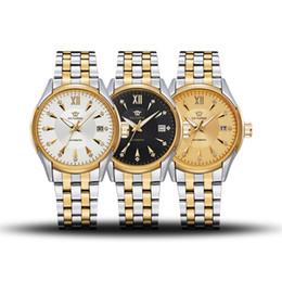 Ouyawei relógios automático de aço inoxidável on-line-OUYAWEI Homens Mecânico Automático Auto-vento Relógio Resistente À Água Projeto de Diamante Real de Luxo Dos Homens de Aço Inoxidável Relógio de Pulso OYW1339