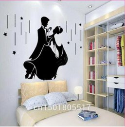 Wholesale Free People Wedding - Free shipping Romantic Wedding Wall Sticker Decorations Bedroom Wallpaper Murals Art Love Couple Fashion Dance Wallpaper Home Decor Vinyl DI