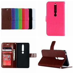 galaxia del libro Rebajas Para Nokia 7 Plus 6 2018 Funda de cuero retro para Huawei Honor 9 Lite, 7C, Galaxy A6 Plus Crazy Horse Flip Cover ID Card Slot Book Pouch