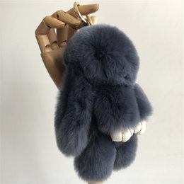 "Wholesale blue rex rabbit - 18cm 7"" Navy Blue-100% Genuine Real Rabbit Rex Fur Bunny Keychain Pendent Purse Toy doll"