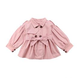 Осенние девушки розовые куртки онлайн-Winter Autumn Toddler Kids Baby Girls Pink Fashion Coat Jacket Dress Outfit Long Sleeve Windbreaker Clothes