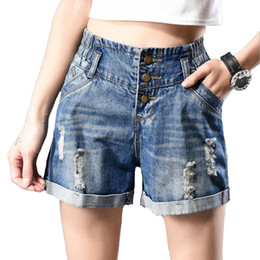 Wholesale New Korean Womens - Washed Casual Shorts Womens Plus Size Summer New Cuffs Hole loose High Waisted Denim Shorts Korean Elastic Waist Bleached Ripped
