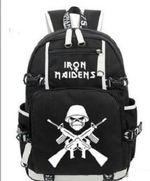 2c46b38c71 HOT-vente Iron Maiden Metallica Heavy Métal Rock Band sac à dos Hommes Wome  épaule sac de voyage Teenage Fille Sacs À Dos garçon Ordinateur Portable Sac