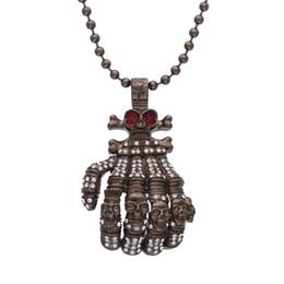 Wholesale Hand Bone Necklace - Exaggerated Hip Hop Jewelry, Auniquestyle Men Gun Black Hand Bone Design Alloy Pendant Inlaid Rhinestone Skull Male Necklace