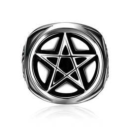 china star rings Coupons - 2018 New Arrival Gothic Soldier Pentagram Ring Unique Punk Style Five Star 316L Stainless Steel Devil Biker Finger Rings 8-12 size