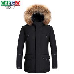 Wholesale Long Jackets Fur Hood Mens - Wholesale-CARTELO Mens Winter Jacket Thick Natural Fur Long Coat 70% White Duck Down Hood Collar Casual Men Down Jacket Snow Mens Parkas