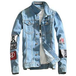 Wholesale Jeans Jacket Wear - 2018 spring new Top Quality Denim Jackets Men Hip Hop Clothing long sleeve Street wear Jeans Jackets Free shipping 5XL