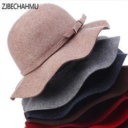 205dbfa3685 Casual Pillbox Hat Women Wide Brim Felt Bowler Fedora Hat Floppy Sun  Bowknot Cloche Cap Womens Large New Apparel Accessories