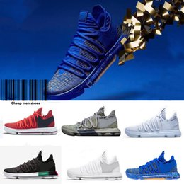 Wholesale Kevin Durant Low Tops - Original Box) 2018 Top Fashion Zoom KD 10 Men Basketball Shoes KD 10 Elite Low Kevin Durant BHM Oreo Athletic Sneaker Comfortable