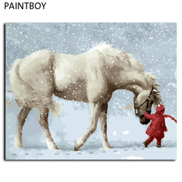 Wholesale Horse Picture Frames - Framed Pictures Painting By Numbers DIY Digital Canvas Oil Painting Home Decor Wall Art White Horse In Winter GX9600 40*50cm