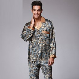 Man s Fashion V Neck Fake Silk Pajamas for Men with L XL XXL Size with  Printing Open Shirt with Button Sleepwear For Men Long-Sleeve Pajamas 81dea3ade