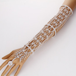 Wholesale Wedding Hand Chain Jewelry - Women Statement Pave Crystal Rhinestone Arm Hand Chain Cuff Ring Copper Bracelet Wedding Bridal Celebrity Belly Dancer Jewelry