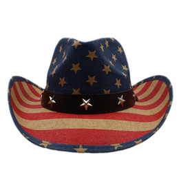 54aa8c9e394f Summer Women Men Hollow Western Cowboy Hat Gentleman Cowgirl Jazz  Equestrian Cap Dad Sombrero Beach Sun Hat American Flag