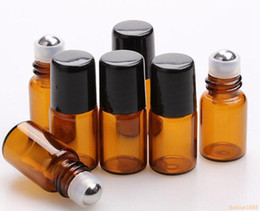 Wholesale Small Glass Perfume Bottles - free shipping 600pcs lot Empty Mini 2ml Amber Roll on Glass Bottles Essential Oil Liquid Perfume Bottle With Metal Roller Ball Small Sample