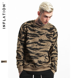 Wholesale Camo Fleece Mens - INFLATION 2017 Autumn & Winter Streets wear Hip Hop CAMO Mens Hoodies Orignal Design Camouflage Pullover Sweatshirt 157W17