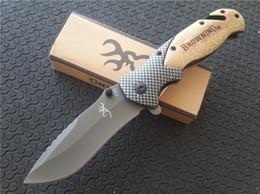 Cuchillos de rescate online-Browning X50 Recubrimiento de titanio Flipper, 440C hoja de acero inoxidable Llano, mango de madera, EDC Pocket Rescue Cuchillo plegable Carpetas
