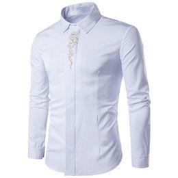 Meninos botão top on-line-Clássico Branco Retro Camisa Moda Flor Impresso Masculino Escritório Blusas Novidade Coberto Botão Men Blusa Maré Menino de Manga Comprida Tops