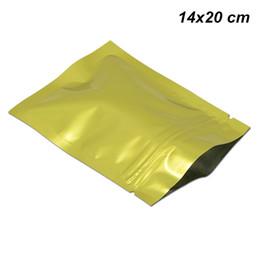 sellos de lámina de oro Rebajas Oro 14x20 cm Papel de Aluminio Cierre con cremallera Bolsas de Bolsas para Reellar de Calidad Alimentaria Papel de Aluminio Reutilizable Mylar Secado Automático Almacenamiento de Alimentos Secos Bolsa de Embalaje