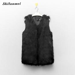 Wholesale Brown Fur Vest Women Sleeveless - Plus Size 3XL Women Autumn Winter Vest Coat Faux Fake Fur New Sleeveless Fur Outerwear Black V-Neck Women Tank Jacket Coat Femme