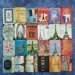 Wholesale paris art - 24 Piece Magnetic fridge magnets souvenir Paris scenery refrigerator magnets home decoration accessories magnetic sticker paste Arts Crafts