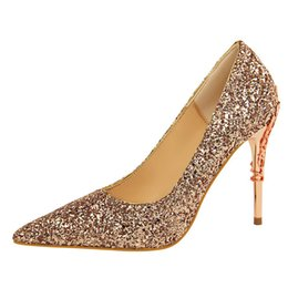 cb822ffe07b7 Fashion sweet banquet sexy nightclub women's shoes metal with thin high heel  shallow mouth pointed sequin single wedding shoes fast delivery