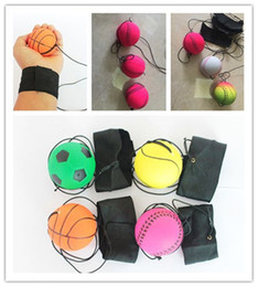 Juguetes fluorescentes online-63mm Bouncy Fluorescent Rubber Ball Muñequera Band Ball Board Juego Divertido Elastic Ball Training Antistress Toy Juegos al aire libre