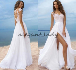 Wholesale Cheap Wedding Gowns China - Modest 2018 Beach Wedding Dresses Cheap Lace Cap Sleeves Chiffon High Split Lace-Up Back Long Bridal Gowns Custom Made in China